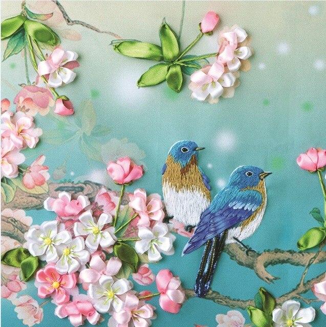 الإبرة ، لتقوم بها بنفسك الشريط عبر الابره مجموعات ل طقم تطريز ، محظوظ الطيور زهرة الشريط عبر غرزة اليدوى الزفاف جدار ديكور