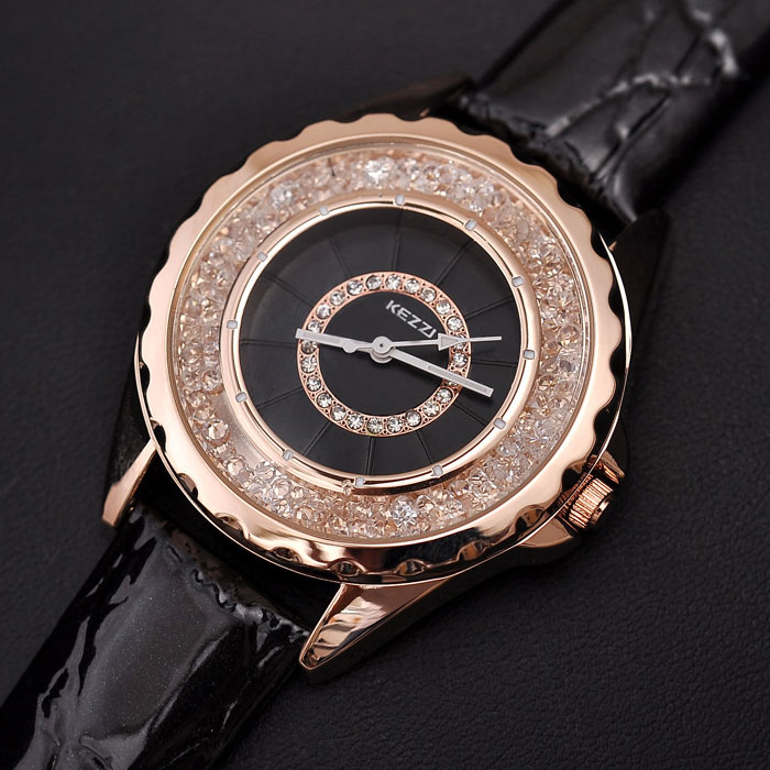 KEZZI Brand Luxury Ladies Watch Fashion Fine Rhinestone Crystal Dial High Quality PU Strap Waterproof Quartz Watch For Women цена