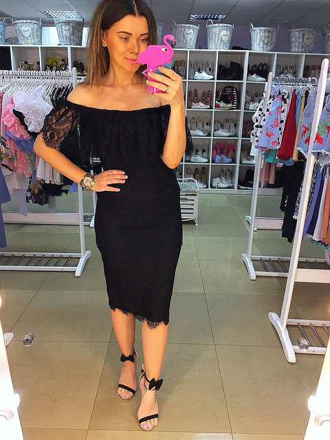 5f87c8dd760d Summer Style Sexy Women Midi Dresses Black White Off the Shoulder Short  Sleeve Strapless Lace Ruffle Bodycon Dresses