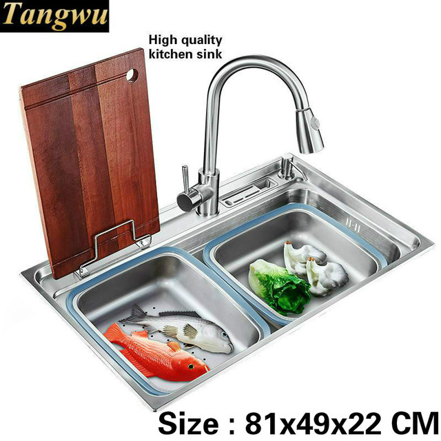 Tangwu Food Grade 304 Stainless Steel Sink Large Single Groove Ings Complete Fashion Kitchen 810x490x220