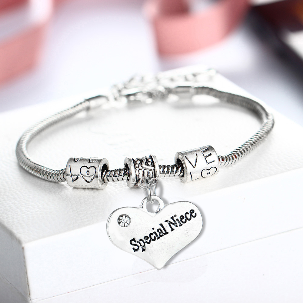 Silver Plated Special Niece Heart Crystal Bracelets Family Party Fashion Women Rhinestone Bangles Jewelry Wristband Wholesale ...