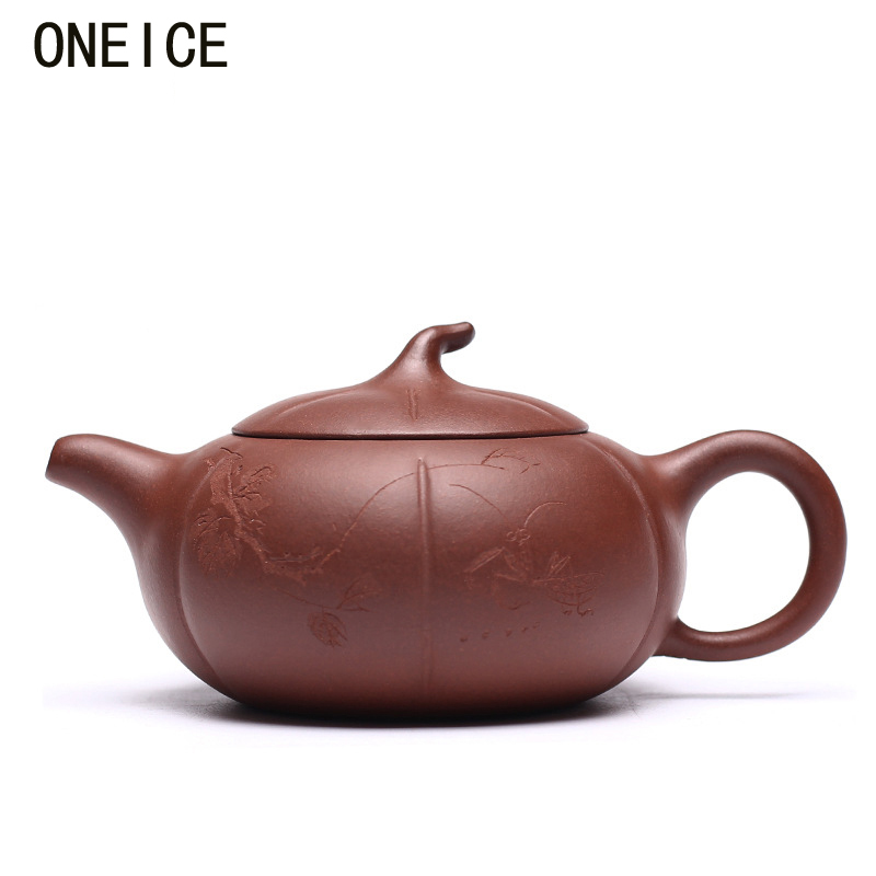 Hand made Yixing purple clay Clouds Persimmon flat pot teapot Tea set teapots Author:zhou ting