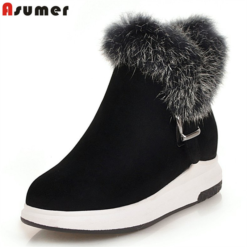ASUMER big size 34-43 winter boots women keep warm casual ladies snow boots flats platform faux fur ankle boots for women 2018 faux fur knitted bowknot snow boots