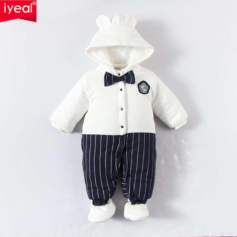 IYEAL Witner Baby Rompers Infant Newborn Bow Thick Warm Cotton Overalls Costume Tie Jumpsuit Clothes Gentleman Baby Boy Clothing newborn baby clothes winter baby boy clothes cotton romper jumpsuit gentleman costume baby rompers infant boy clothes 0 12m