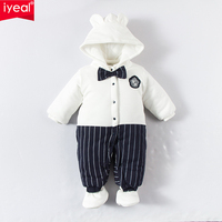 IYEAL Witner Baby Rompers Infant Newborn Bow Thick Warm Cotton Overalls Costume Tie Jumpsuit Clothes Gentleman