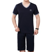 2019 Men Summer Tracksuit Gray Navy Blue T shirt And Short Suit Two Piece Set Male Cotton Top And Shorts Suits Sets Clothes Man цена