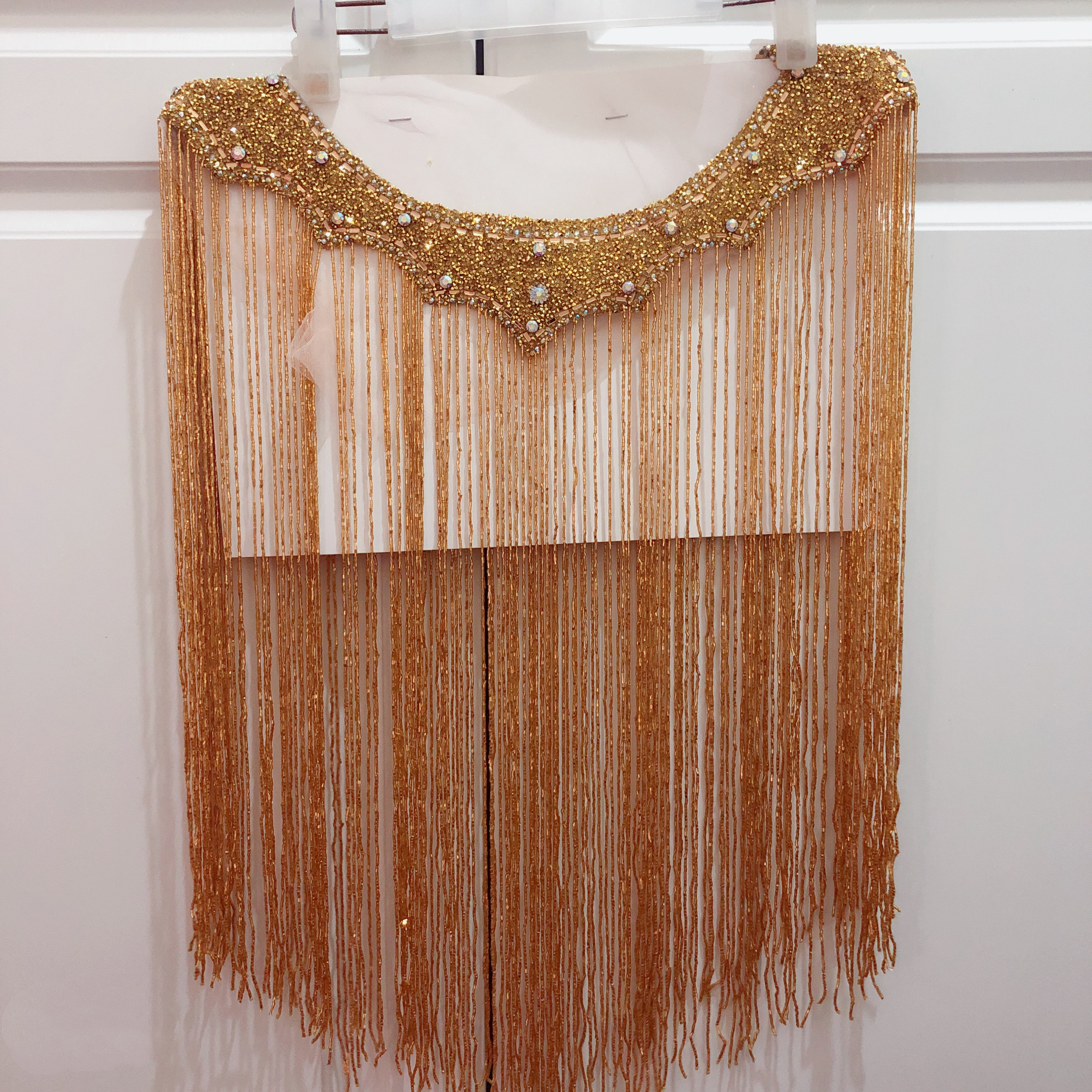 hot sale new wedding embroidered crystal beaded tassels collar appliques mneckline with 50cm fringe trim