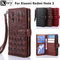 K Try Case For Xiaomi Redmi Note 3 Wallet Flip Cover Luxury Crocodile Leather Soft Slicone