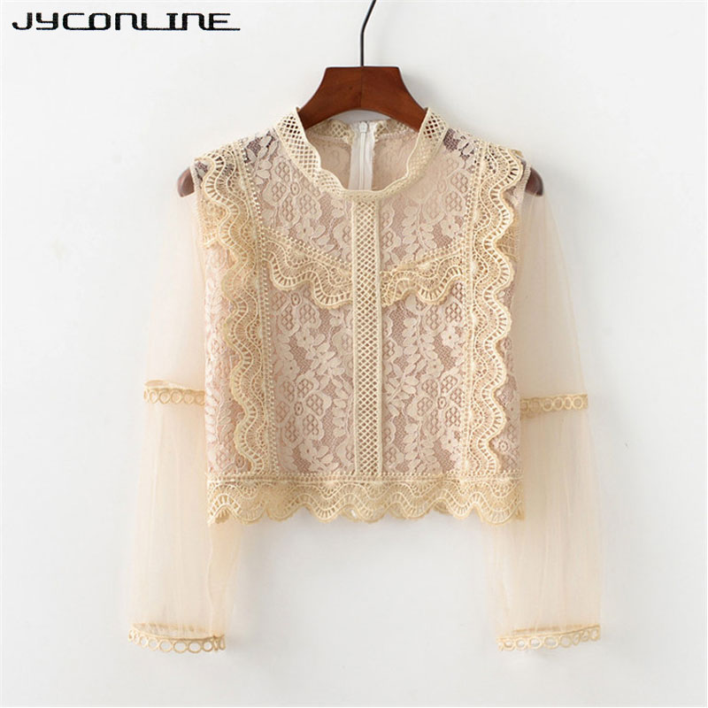 Women's Clothing Responsible 2018 New Fashion White Crochet Lace Blouses Spring Autumn Turtleneck Long Sleeve Shirt Sexy Floral Trim See Through Blusas Mujer Online Discount