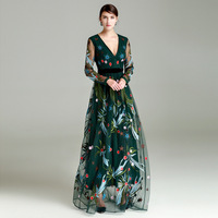 Spring 2018 European Style Couture New Sexy V Collar Heavy Gauze Embroidery Long Sleeved Dress S