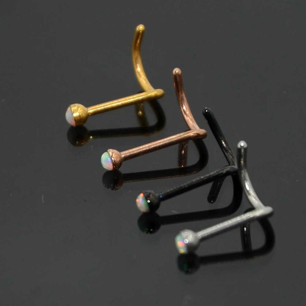 BOG-1PC опал Сталь L изгиб, прямой бар Форма нос кости винт, Шпилька пирсинг спираль Нос Пуссеты ювелирные изделия 20 г
