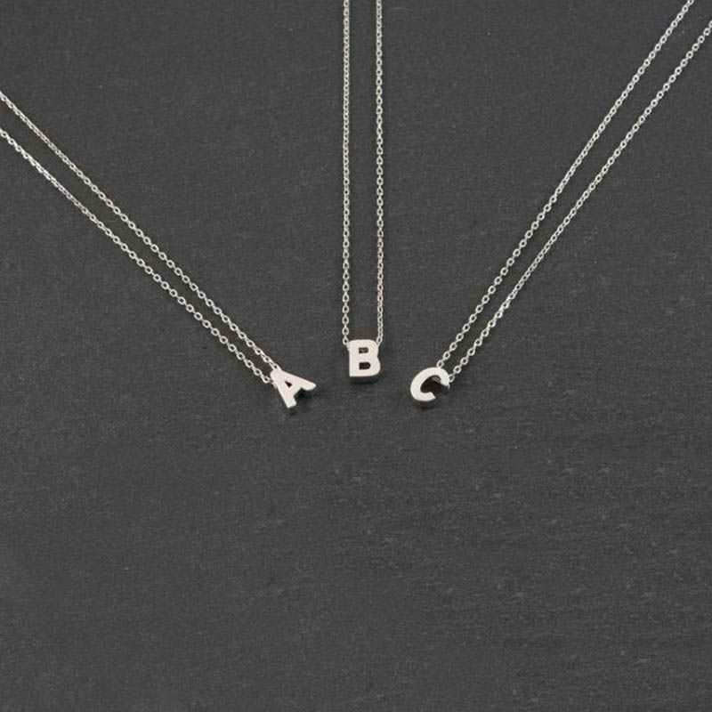 Fashion Gold Chain Initial Charms Necklace Pendant Metal Letters For Jewelry Cut Letters Single Name Necklaces