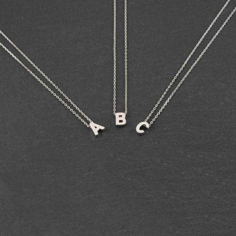 Moda złoty łańcuszek początkowa naszyjnik wisiorek Charms metalowe litery dla biżuteria spersonalizowane Cut litery pojedyncze naszyjniki