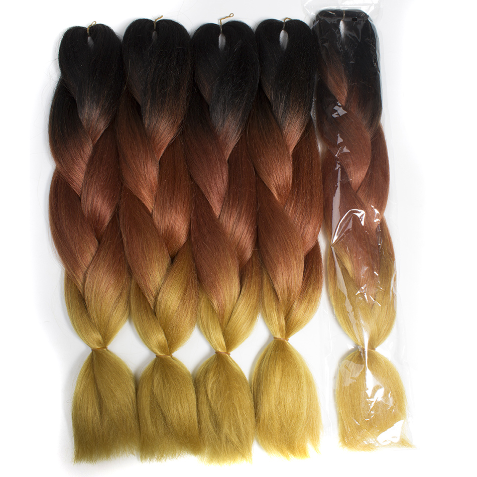Qp Hair 24''Long Strands Ombre High Temperature  Jumbo Synthetic Braiding Hair Crochet Blonde Hair Extensions Jumbo Braids Hairs