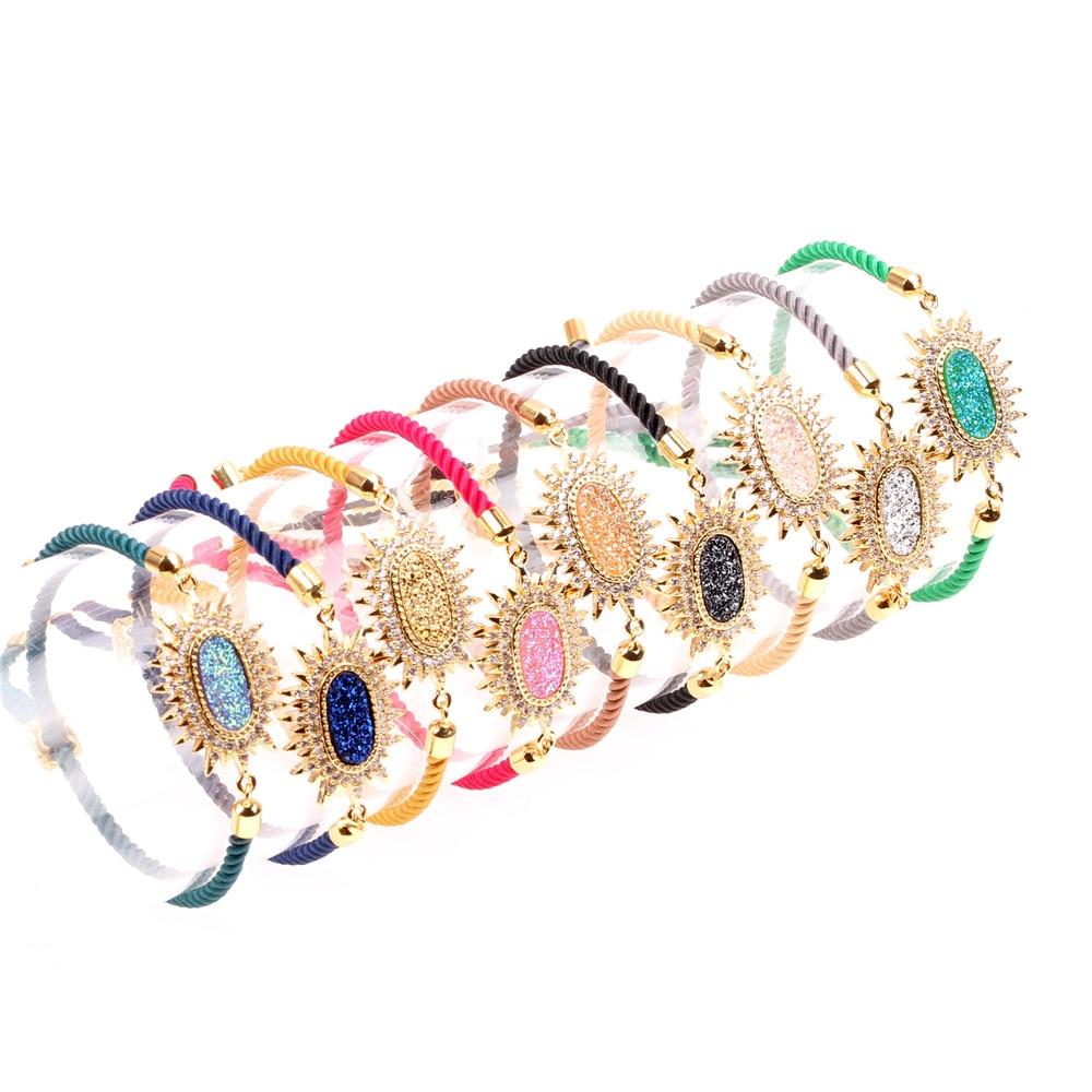 Trendy Flower Colorful Slide Bracelet Women Handmade ...