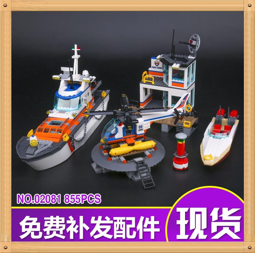 New Lepin 02081 855Pcs City Series Police Coast Guard Headquarters Base Building Block Compatible 60167 Brick Toy boy gift цена и фото