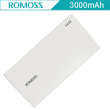 Super Slim 3000mAh External Battery Charger Original ROMOSS PG01 Power Bank with USB Cable for iPhone Mobile Phone Charger White