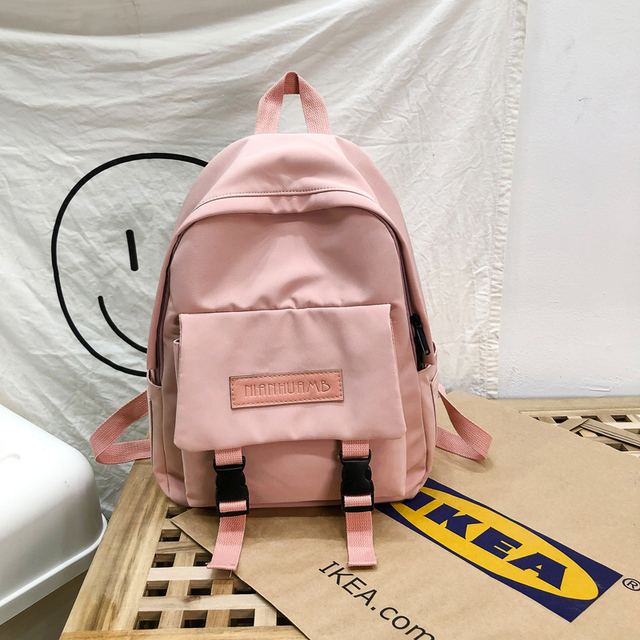 2020 Backpack Women Backpack Fashion Women Shoulder Bag solid color School Bag For Teenage Girl Children Backpacks Travel Bag 2