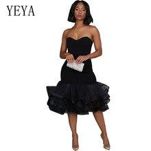 YEYA New Fashion Sexy Off Shoulder Sleeveless Slim Dress Summer Cascading Ruffle Dresses Causal Ladies Elegant Party Cocktail