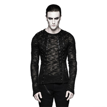 Steampunk Men Hollow Out Strappy Sweater Victorian Black Lace-up Knitting Sweater Shirts Top