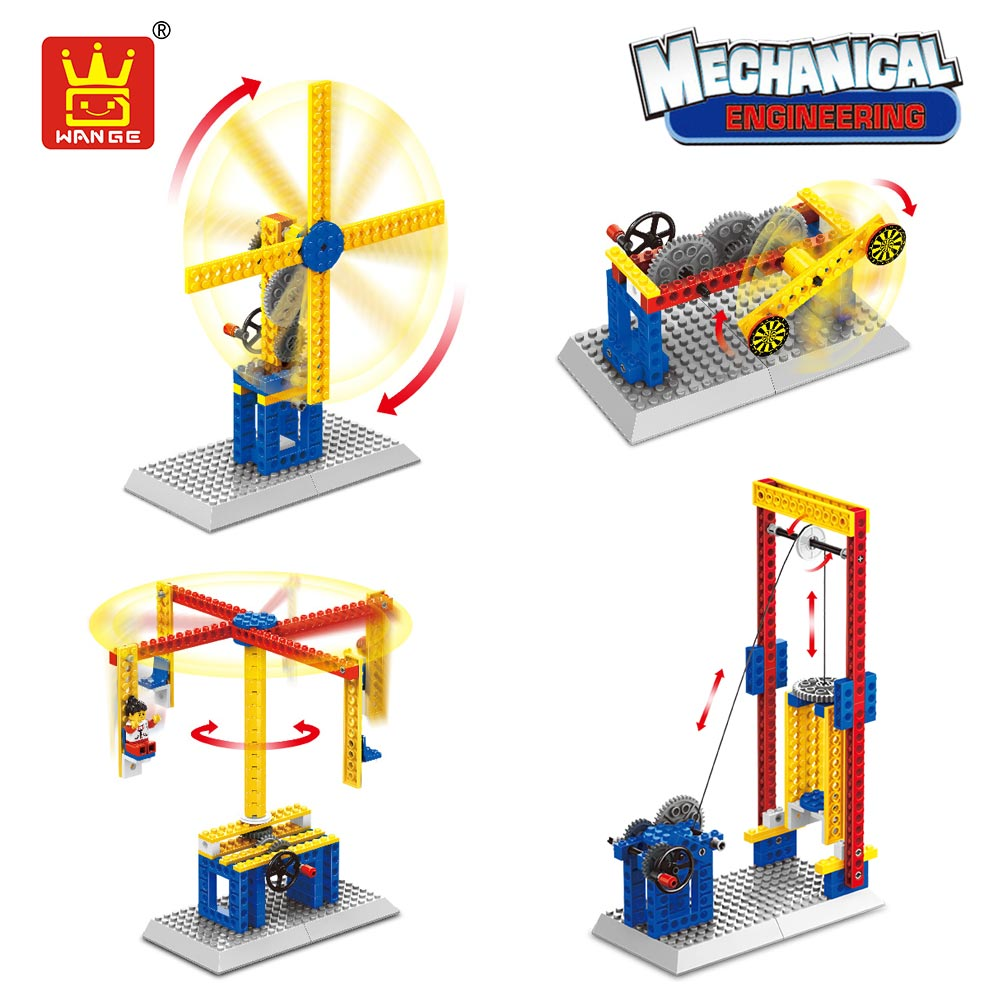 WANGE 3in1 Mechanical Engineering Education Toys for Children Boys Gift Building Blocks Gears Bricks Kids Lift Go Round Windmill tqm in engineering education