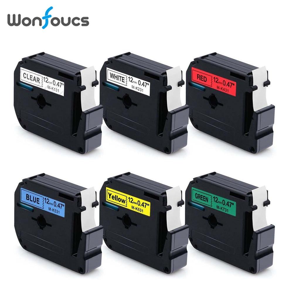 6 Farben 12mm Kompatibel Brother M Bänder Mk231 M-k231 Mk-231 M-k131 Etiketten Patrone Für P-touch Drucker Schreibmaschine Pt-65 Grade Produkte Nach QualitäT