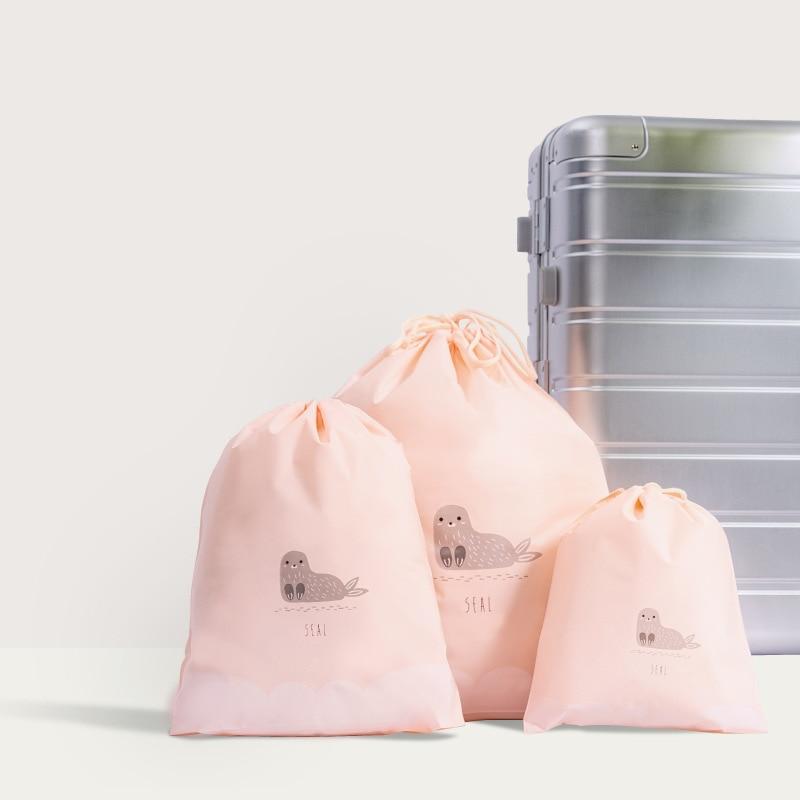 2019 Cute 3pcs Separate Bags Travel Bundle Pocket Set Waterproof Drawstring Clothing Collection EVA Cartoon Shoes Underwear Orga