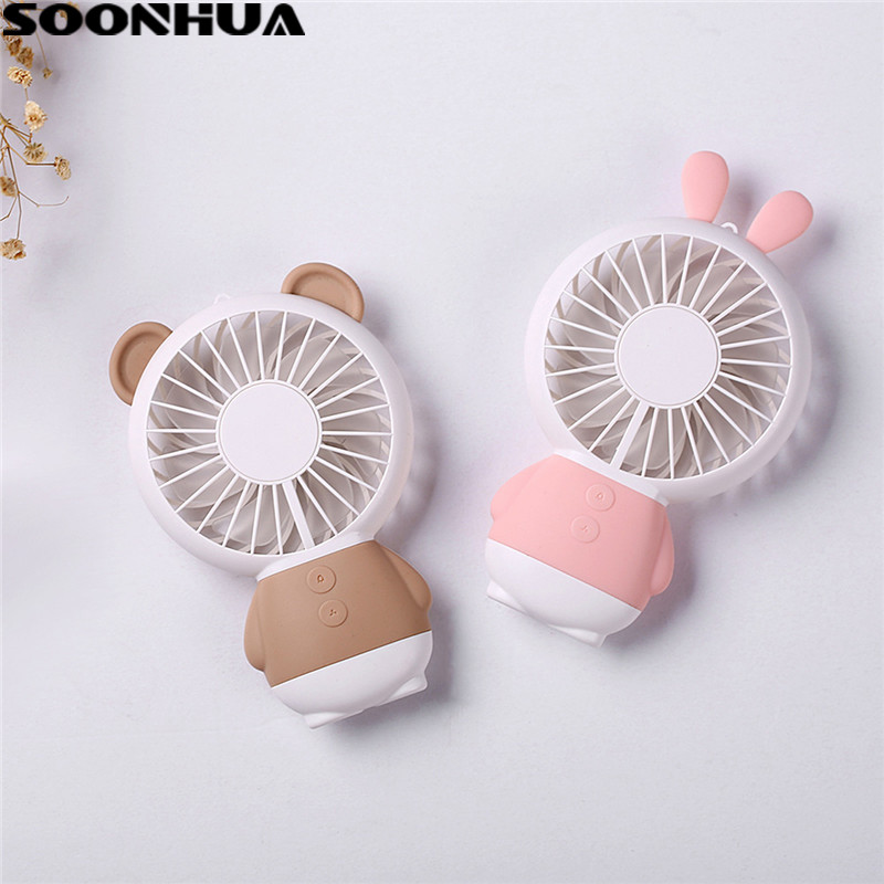 SOONHUA Portable USB Fan Handheld Cartoon Rabbit Bear Cooler Mini Fan With Colorful Ligh ...