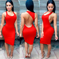 Sexy dress 2016 mujeres del verano sin mangas del tanque backless dress abierto volver longitud de la rodilla bodycon dress sexy ladies dress club wear XXXL