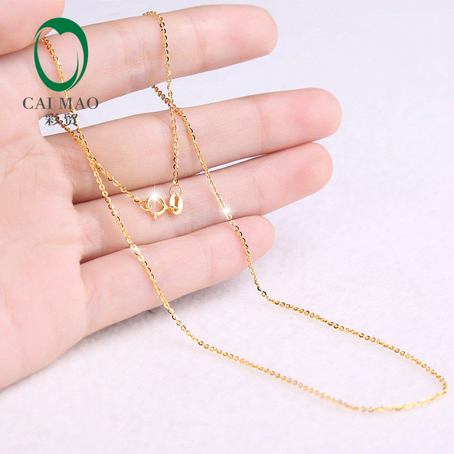 18K Rose or Yellow or White Gold Necklace 16inch 18inch About 40cm 45cm adjustbale Chain For Women