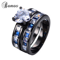 Exquisite 2 Pcs White Heart Style Blue Zircon Beads Rings For Couple Retro Black Gold Filled