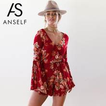 27fe0ef7f3 Anself 2018 Fashion Floral Print Women Playsuit Sexy Bodysuit Long Sleeve  Summer Ruffle Jumpsuit Rompers Beach Short Overalls