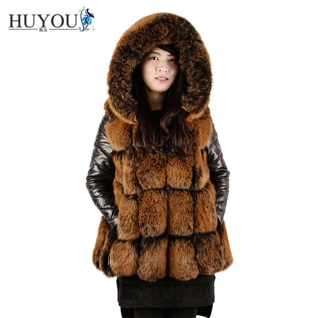 2017 Hot New Real Fox Fur Vest With Hooded Women's Fashion Winter 100% Natural Fur Vest Thick Warm Coat Long Jacket Fur Dress