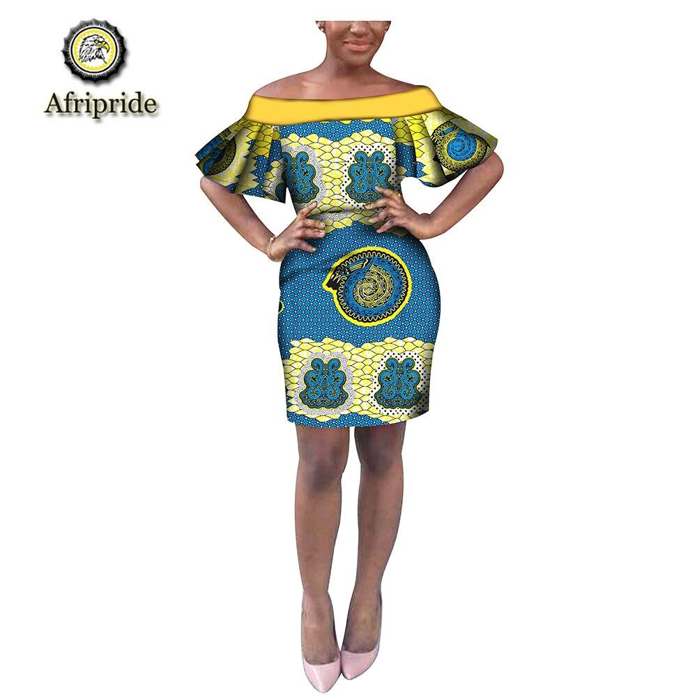 2019 printemps femmes robe dashiki africain AFRIPRIDE bazin riche manches décontracté batik robe pour femmes imprimé ankara S1825066