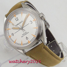 лучшая цена 41mm Corgeut White Dial Leather Strap Sapphire Glass miyota Automatic Movement men's Watch