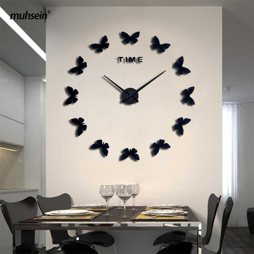 2019 muhsein New Wall Stickers Home Decor Poster Diy Europe Acrylic Large 3d Sticker Still Life Wall Clock Horse Butterfly