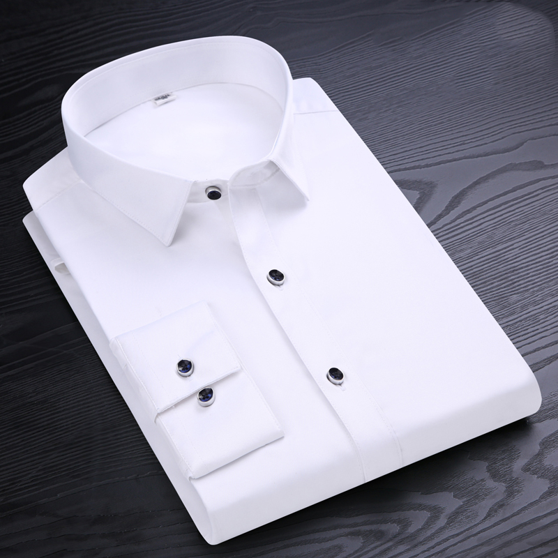 High Quality Men Shirt Long Sleeve Twill Solid Formal Business Shirt Brand Man Dress ShirtsD4.24 ...