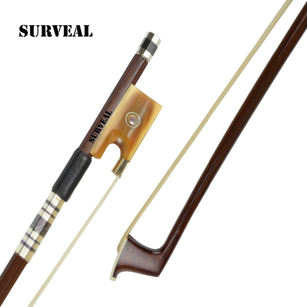 SURVEAL Professional Top Quality Brazilwood Violin Bow Natural Mongolia Horsetail Tail <font><b>Arco</b></font> <font><b>de</b></font> <font><b>violino</b></font> Ox Horn Frog Size: <font><b>4/4</b></font> image