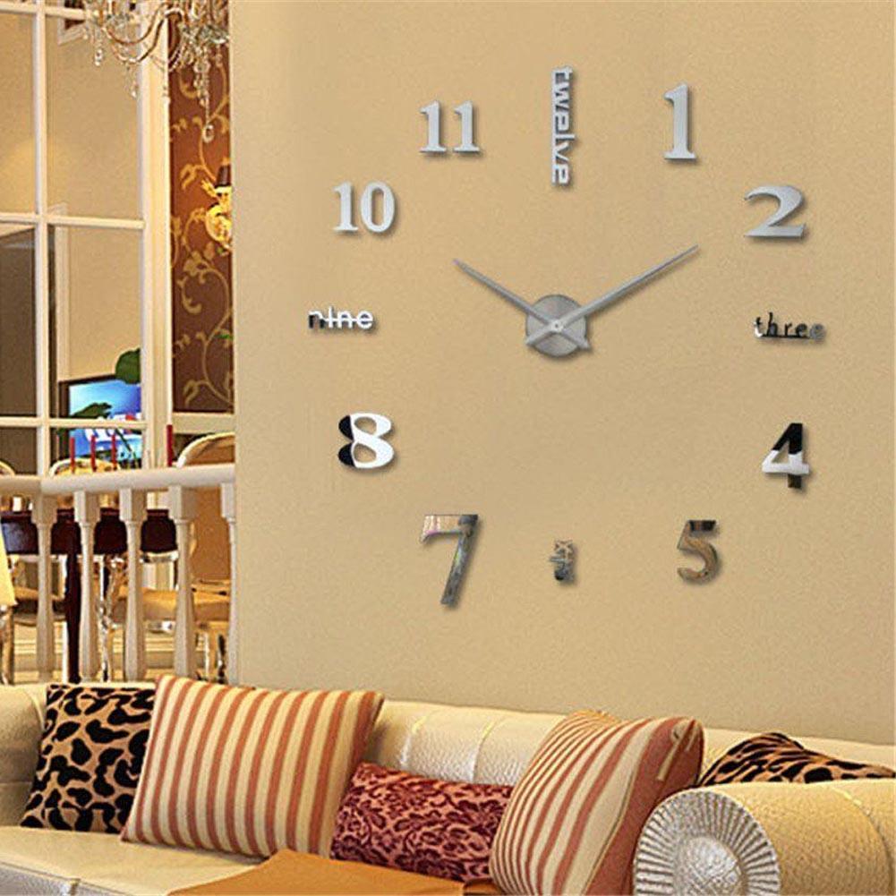 இCreative 3D Wall Clock DIY Large Decorative Wall Clock Big Mirror ...