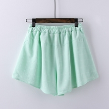 2016 New Spring Summer Shorts Women Cotton Hemp Grid Harem Pants Plus Size Waist Shorts Casual Beach mini Short Pants For Womens