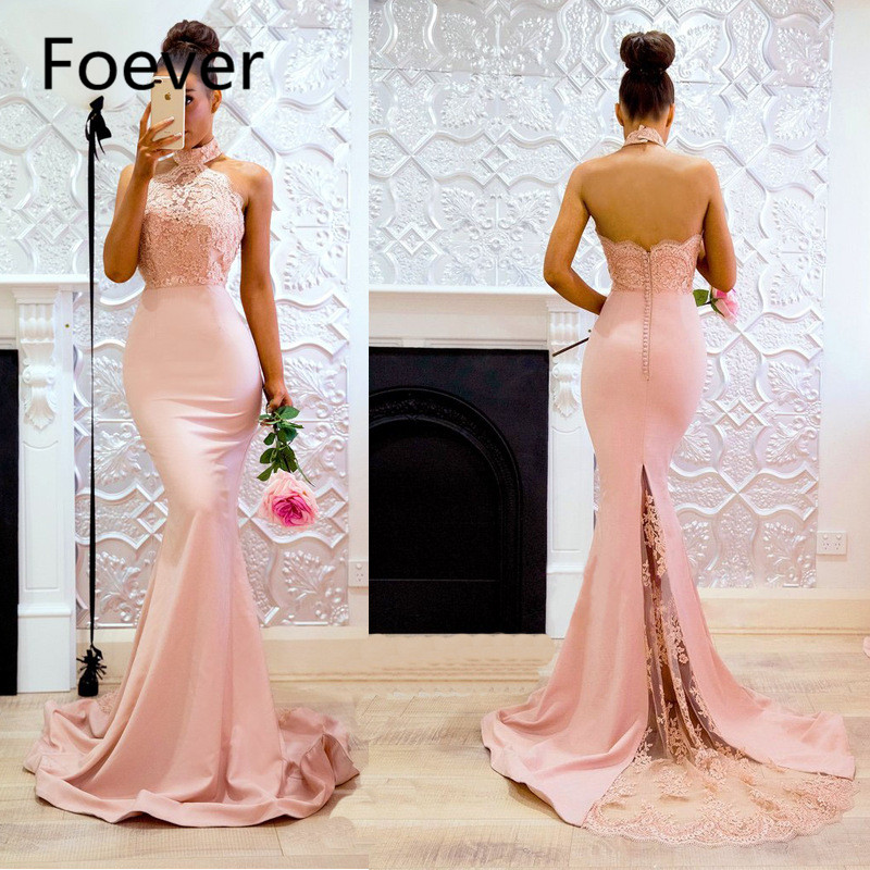 Sexy Backless Pink Prom Dresses Long Train with Lace Elegant Mermaid Evening Party Gown