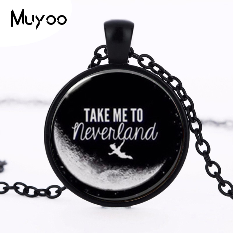 Peter Pan Jewelry, Peter Pan Necklace Peter Pan art pendant Choker Necklace Men Women Take me to Neverland HZ1