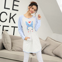2pics Spring Autumn Pajamas Cotton Long-Sleeve Sleepwear Female Home Clothing Girl Night Wear Fashion Printing Sexy Sweet Sets