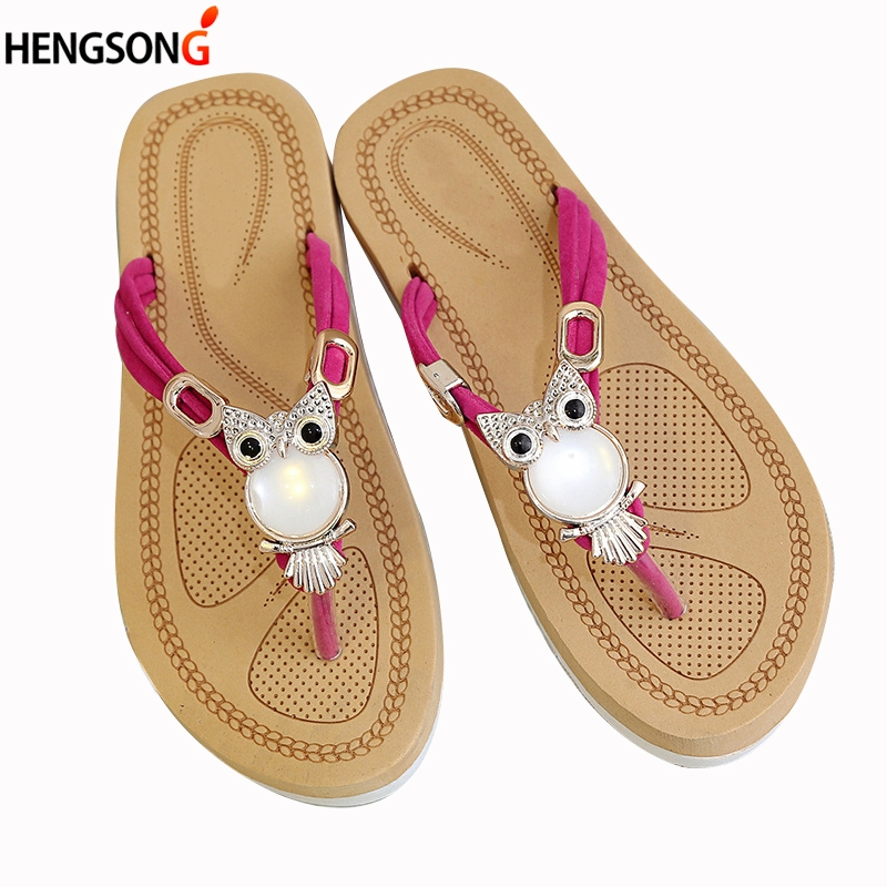 Fashion Owl Crystal Sandals For Women Slippers Flats Shoes Bohemian Summer Beach Sandals T-Tied Flip Flops Female Sandals Sides