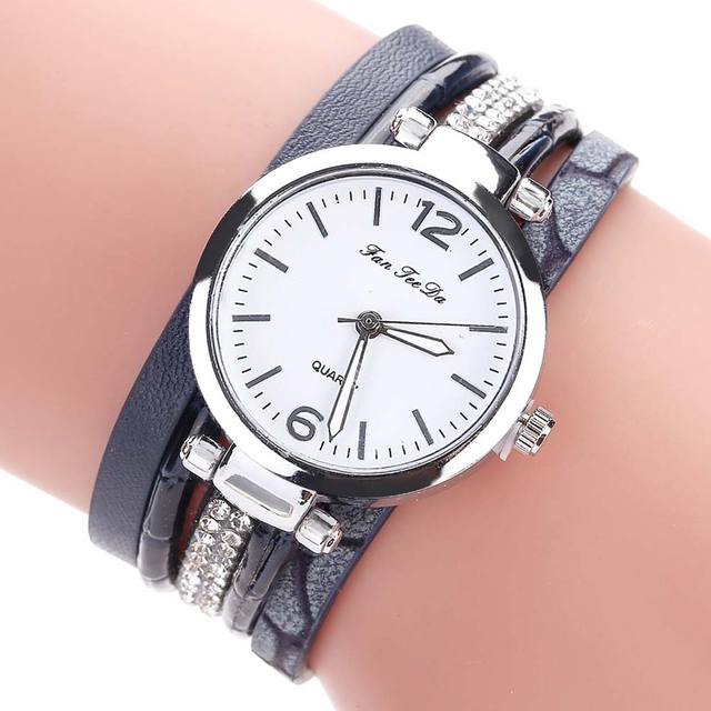 FANTEEDA Multi Layers Women Quartz Bracelet Watch PU Leather Weave Wrap Crystal