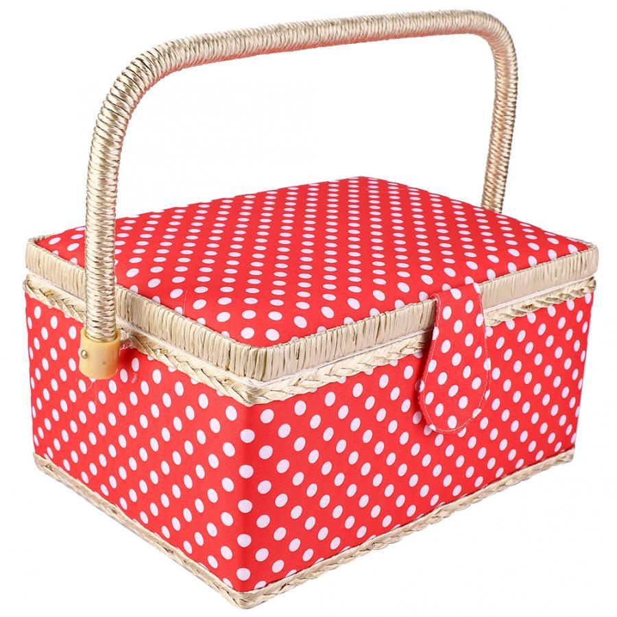 Handle /& Removable Tray Red Polka MEDIUM Sewing Box Fabric Sewing Basket