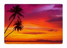 Floor Mat Summer Style Palm Trees Silhouette on Sunset Tropical Beach Print Non-slip Rugs Carpets For Indoor Outdoor Living Room