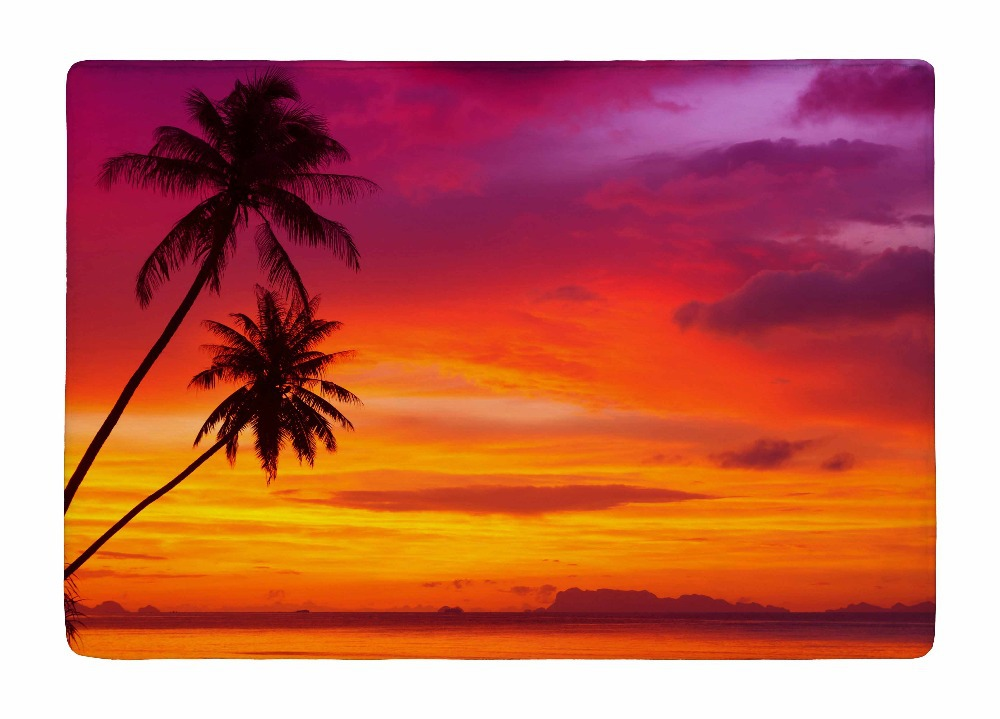 Floor Mat Summer Style Palm Trees Silhouette On Sunset Tropical Beach Print  Non Slip Rugs Carpets For Indoor Outdoor Living Room