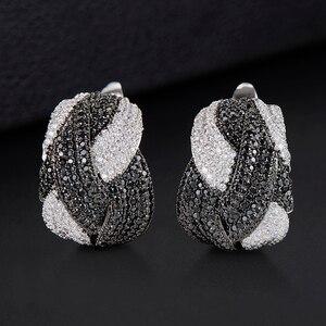 Image 4 - GODKI 25mm Luxury Twist Braided Cross Lines Colorful Full Mirco Cubic Zircon Stud Earring For Women Wedding Dubai Gold Earrings