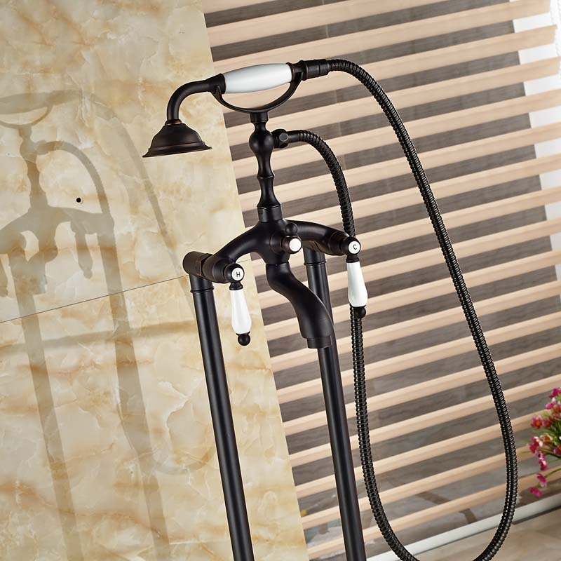 Black Oil Rubbed Bronze Bath Freestanding Tub Shower Set Phone ...